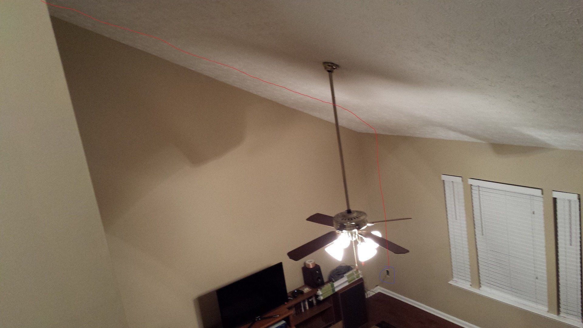Living room with phone cable route